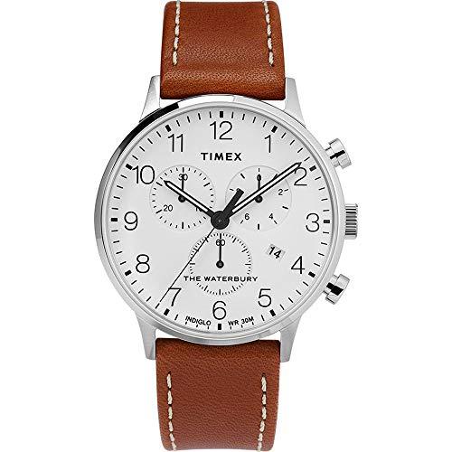 Timex Herren Analoger Quarz Uhr mit Echtes Leder Armband TW2T28000
