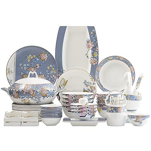 ZWJ Copas y platillos Set Nordic Ceramic Vajilla Traje de glaseado Platos Platos de Platos adecuados para el Restaurante Familiar 62 Pieza
