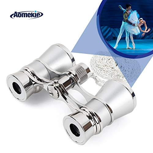 Aomekie Opernglas Theaterglas für Theater Konzert Pferderennen und Opera 3X Vergrößerung Fernglas Binoculars Feldstecher mit Kette (Silber)