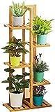 Weychen Soporte para plantas con 5 estantes, escalera para flores, estantería de madera, estantería de jardín, estantería de escalera, para interiores y exteriores