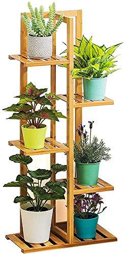 Weychen Scaffale Porta-fiori in Bambù di 5 ripiani per piante, scala per fiori, scaffale in legno,...