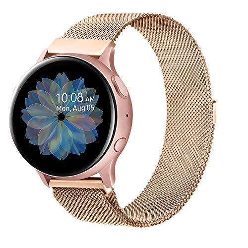 Senka 20mm Metal Correa Compatible con Samsung Galaxy Watch Active 40mm/Active2 40mm 44mm,Pulseras de Repuesto de Inoxidable para Samsung Galaxy Watch 42mm/Watch 3 41mm/Gear Sport(20mm,Oro Rosa)