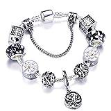 PmseK Armbänder/Bangle Armband, Luxury 925 Silver Charms Bracelet Bangle for Women Crystal Flower Beads Fit Brand Bracelets Jewelry AE0245 20cm