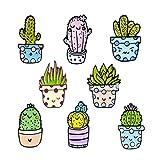Liasun 8Pcs/set Cute Enamel Lapel Brooch Pin Set - Funny Cactus Series - Cartoon Brooch Badge Pins for Clothes Bags Backpack(Cactus Set)