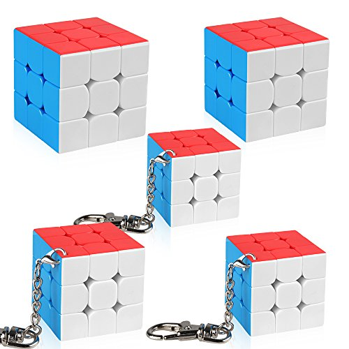 D-FantiX Moyu Cubing Classroom Set Mini 3x3 Speed Cube Keychains 3x3x3 Magic Cube Key Ring Toys Gift Box