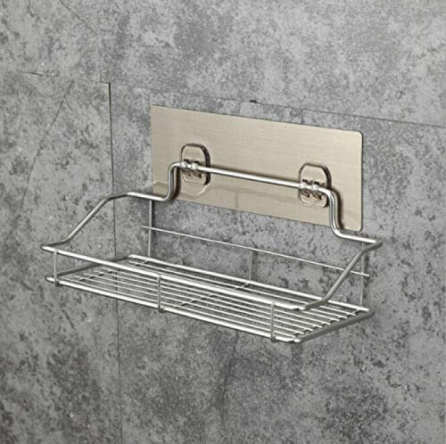 yuery Cesta de ducha de metal caliente práctica de plástico para baño, estante organizador de ducha, estante adhesivo para colgar en el baño, almacenamiento M plateado