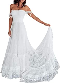 iluckin - Vestido de novia con hombros descubiertos, vestido de novia con tren