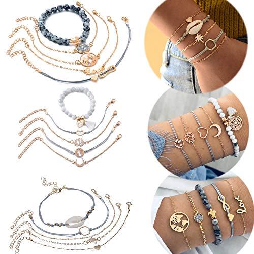Jbniuay 15 Stück Schale Armbänder Weltkarte Infinity Herz Geflochtene Handgemachte Einstellbar Armreifen Perlenarmband Boho Schmuck Set für Damen Mädchen Weihnachten Geschenke (Set1)