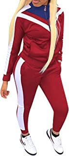 Vska Womens Hooded Sports Autumn Casual 2 Pieces Sweat Tracksuits Sets Athleisure