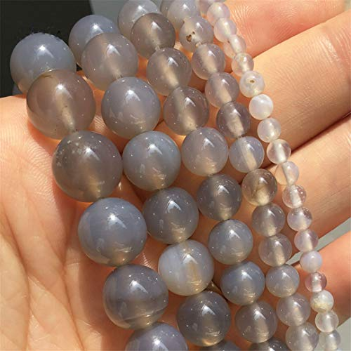 Caviland Natural Stone Smooth Grey Agates Onyx Round Loose Beads For Jewelry DIY Making Bracelet Accessories 15''Inches 4 6 8 10 12Mm 10mm (approx 36pcs)
