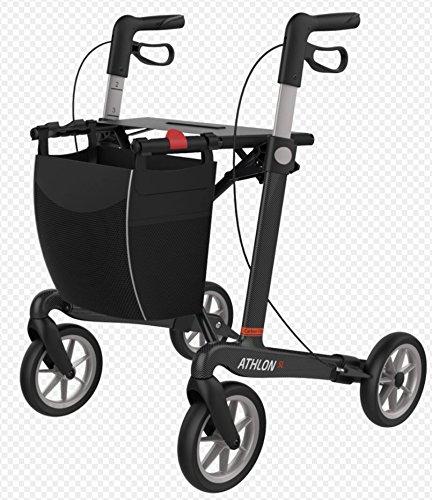 Rehasense Carbon Rollator Athlon SL größe L, Super-Leichtgewicht 5,2 kg für Senioren mit abnehmbarer Einkaufstasche