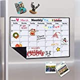 Magnetic Calendar Dry Erase Whiteboard for Fridge, 2020 Weekly and Monthly Planner White Board Memo with Strong Magnet Use as Planner Calendar, Grocery, to Do List Planner Organiser, 43x30cm
