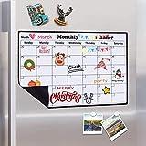 Calendario magnético Pizarra de borrado en seco para Nevera, Planificador Pizarra magnética con imán Fuerte Lista de la Compra para la Cocina, Pizarra para niños, 43x30 cm