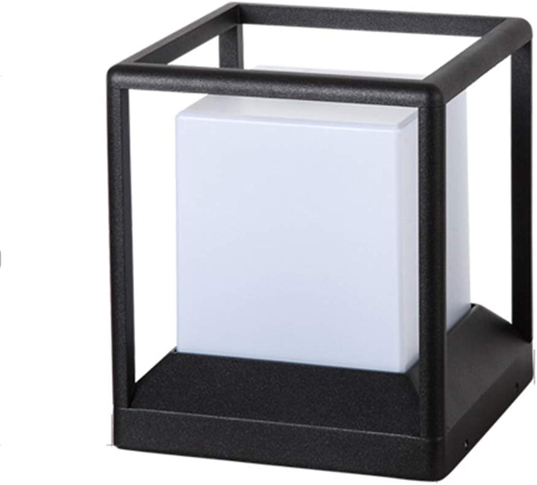 Solarleuchten Wasserdichtes Spaltenkopflichtquadrat-Türpfostenlampen-Landschaftspostlicht im Freien, Mund der Lampe E27 (Farbe   schwarz, Größe   17  17  21cm)