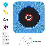 Lettore CD,VIFLYKOO Lettore musicale CD montabile a parete portatile con telecomando per bambini Studenti, Incorporato con altoparlante HiFi, Uscita 3,5 mm, cuffie RCA/FM/USB/MP3 - Blu