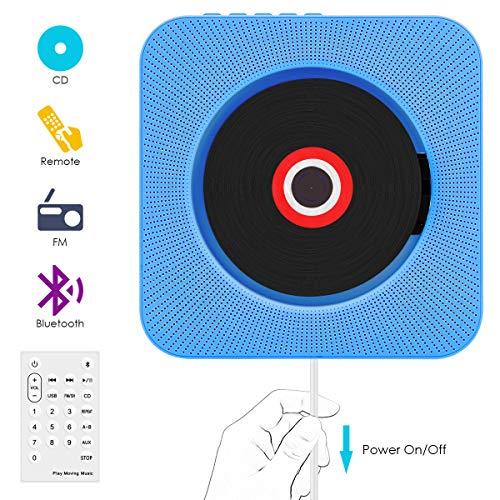 CD Player,VIFLYKOO Bluetooth wandmontierbar CD Radio Musik Player mit Fernbedienung, Eingebauter 2 HiFi-Lautsprecher,MP3,3.5mm Kopfhörerbuchse für Kinder Student und Elder - Blau