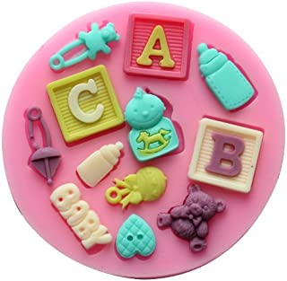 Longzang Baby Shower Fondant Silicone Candy Molds Cake Decorating Tools, Small, Pink