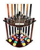 Cue Rack Only - 8 Pool Billiard Stick & Ball Floor Stand with Scorer Choose Mahogany, Dark Oak or Black Finish (Mahogany)