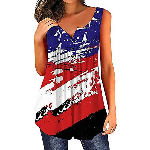 Mayntop Camiseta sin mangas para mujer con diseño de estrellas y rayas de Estados Unidos del 4 de julio, F-red Black, 36