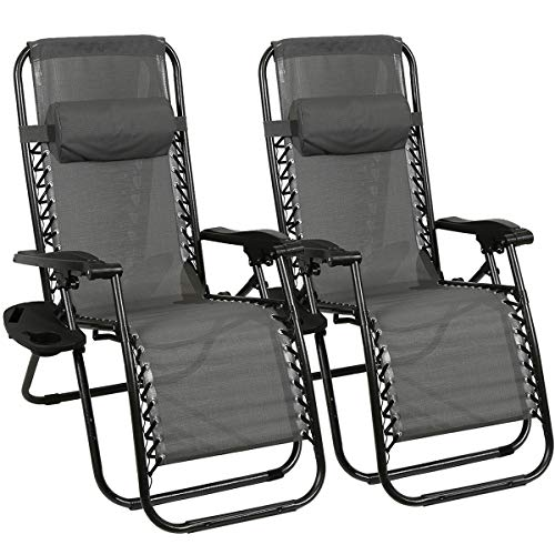 Barreau Piaf Zero Gravity Chair Set of 2 Outdoor Sun Lounger Chair Folding Recliner with Phone Cup Holder Heavy Duty Reclining Sunloungers for Home Garden Patio Deck, Grey