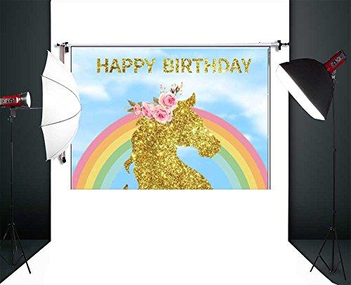 Fanghui Backdrops Photography Photo Studio Background Photographic Happy Birthday Material Vinyl 7x5ft Unicorn