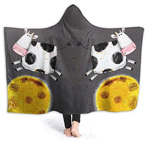 Coperta con cappuccio – Coperta in pile con cappuccio in mucca sopra la luna, super morbida coperta calda 150 cm x 150 cm
