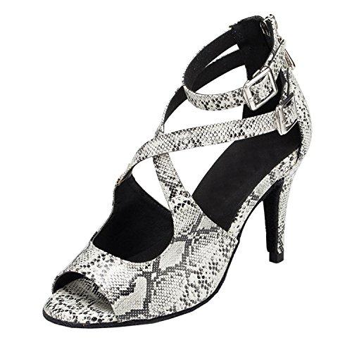 MINITOO Damen Latein Salsa Ankle Wrap Leopard Weib Synthetik Tanzschuhe Party Sandalen EU 36