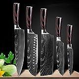 Patrón de acero inoxidable de Damasco agudo cocinero cuchillo de la cuchilla del cuchillo de sushi rebanar Cuchillos Accesorios de Cocina (Color : 5PCS)