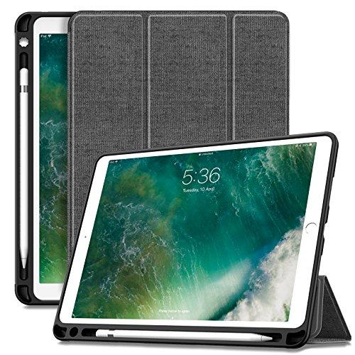 INFILAND iPad Air 10,5 Zoll (3. Generation) 2019/ iPad Pro 10,5 Hülle mit Pencil Halter, Ultra Schlank Ständer Schutzhülle Case Tasche mit Auto Schlaf/Wach für iPad Air 3/10,5 iPad Pro, Grau