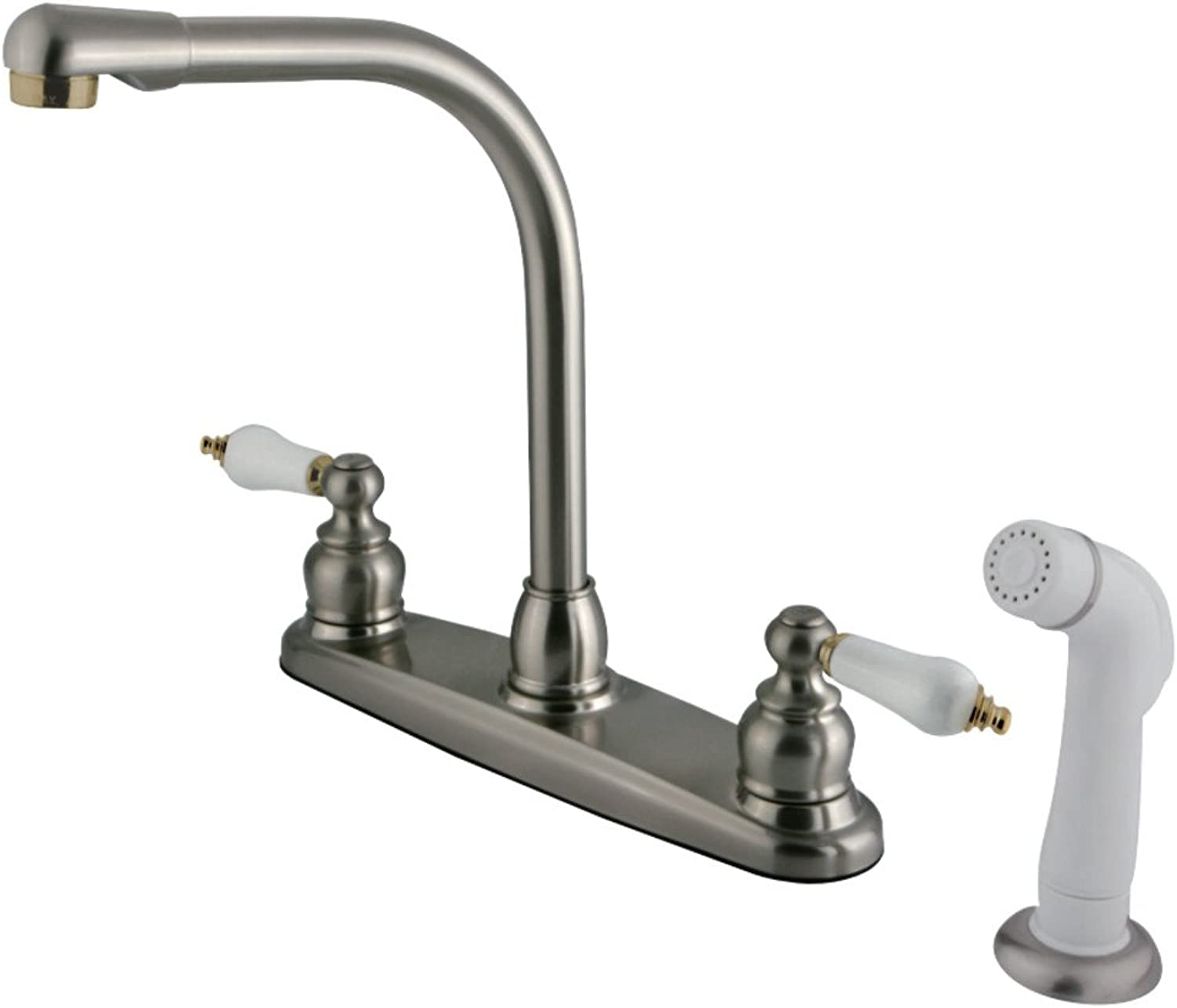Kingston Brass KB719 Victorian High Arc Kitchen Faucet, Satin Nickel and Polished Brass by Kingston Brass