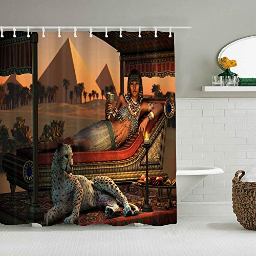 LZHANDA Polyester Fabric Shower Curtain Set with 12 Plastic Hooks Decorative Bath Curtains,Egypt Leopard Ancient Egyptian Sex Lady and a Tame Cheetah,72 x 84 inches