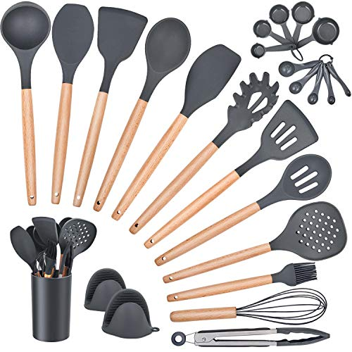 Homikit 25-Piece Kitchen Cooking Utensils Set with Holder, Silicone Spatula Spoon Ladle Turner Skimmer for Nonstick Cookware, Kitchen Tools Gadgets with Wooden Handle, Gray