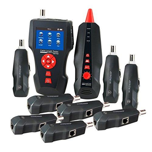 Digitale Kabellänge Tester für RJ45 RJ11 BNC Koax Telefon Multi Funktion Handheld Netzwerkkabel Tester Fehler Detektor PING POE funktion,FREE 1GB TF Card (Draht-Tracker + 8 Remote-Kennung)
