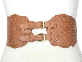Women's openwork pin buckle girdle fashion elastic wide belt (Color : Brown, Size : 80-100cm)