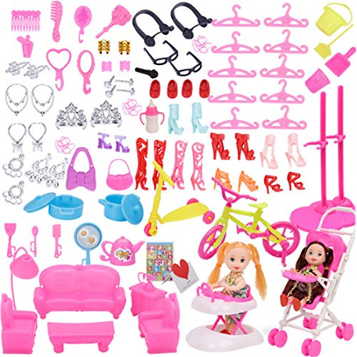 ZSWQ 108 pieces doll accessories Miniature Mop Dustpan Bucket Brush Housework Cleaning Tools Set Dollhouse Garden Accessories for Girls Christmas Birthday Party Gifts