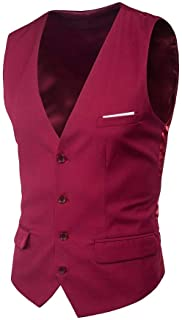 Men's 4 Button Waistcoat Slim Business Leisure Casual Modern Casual Fit Vest Solid Color V Neck Casual
