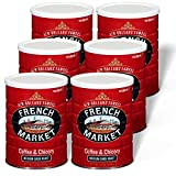 French Market Coffee, Coffee and Chicory, Medium-Dark Roast Ground Coffee, 12 Ounce Metal Can (Pack of 6)