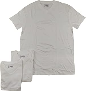 Sean John Men's 3-Pack V-Neck T-Shirts (White, X-Large)