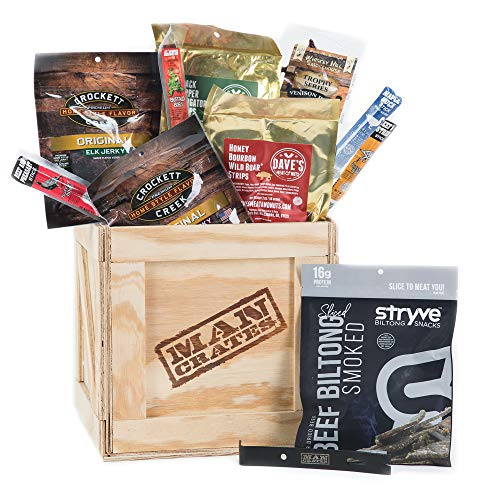 Man Crates Exotic Meats Crate  The Ultimate Gift For Meat Lovers  Includes 10 Rare Jerky Flavors Like Venison, Wild Boar, Elk and More  Ships In A Sealed Wooden Crate With A Laser-Etched Crowbar