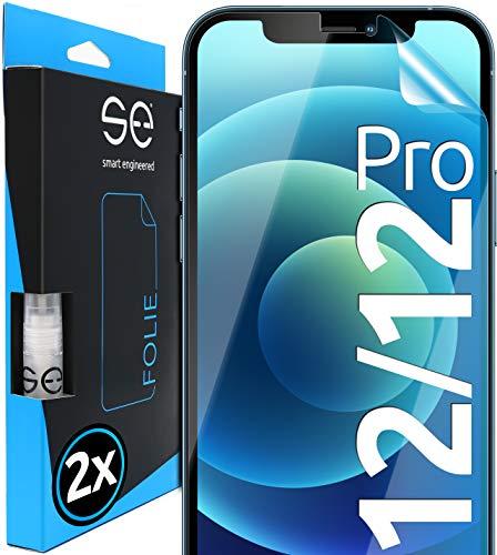 [2 Stück] 3D Schutzfolien kompatibel mit Apple iPhone 12 / iPhone 12 Pro, hüllenfreundliche transparente HD Displayschutz-Folie, Schutz vor Schmutz und Kratzern, kein Schutzglas - smart engineered