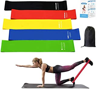 Resistance Bands Set 5 Packs Exercise Loop Bands - Latex Exercise Bands Stretch Strength Training Pull Ring Therapy Pilate...