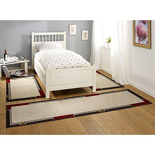 HANSE Home Design Bordüre Beige Rot 3-teilige Bettumrandung Teppich Lectus Brücke Läufer Bettläufer Bettbrücke, Polypropylen, 70 x 140 x 0.8 cm