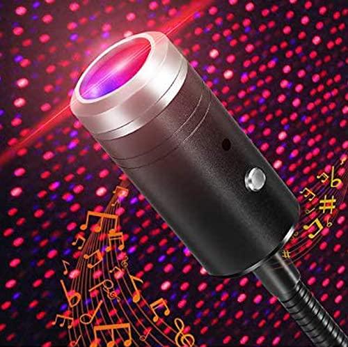 Mini LED Auto Projektor licht USB Beleuchtung,Stimmkontrolle Dach Star Lights Projection,Tragbar Atmosphäre Licht Dekorationen für Auto,Decke,Schlafzimmer,Party(Rot&Lila)