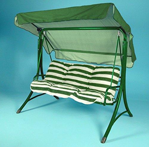 RETI GRITTI Ricambio Completo Cuscino + Tetto per Dondolo 3 posti (150 cm) (150-rigato Verde e Bianco)