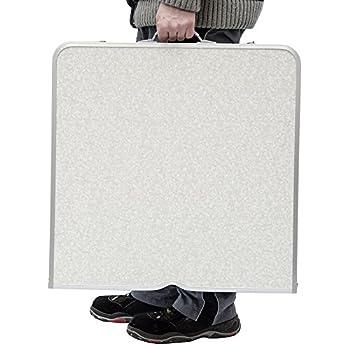 AMANKA Table de Camping Pique-Nique Pliable réglable en Hauteur 120x60x70cm en Aluminium Pliant Format Mallette Gris Clair