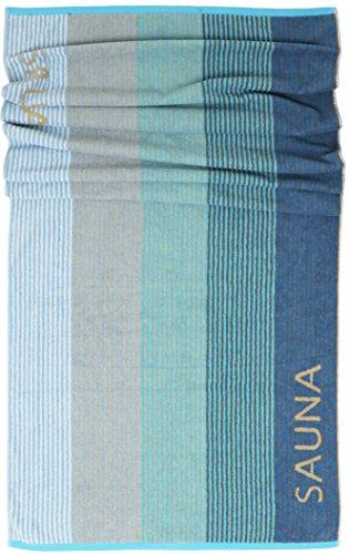 Lashuma Saunatuch Helsinki, Blau - Türkis, Liegetuch für die Sauna, XXL Badetuch, 100% Baumwolle, 85x200 cm
