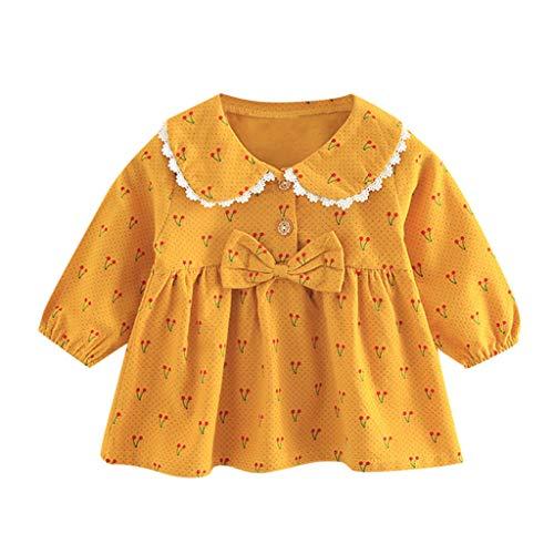 Unbekannt Allence Baby Mädchen Langarm Stripe Karomuster Kleider Retro Kleinkind warm Plüsch Ball Niedlich Kleidung,1-6 Jahren