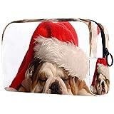 Slepping Bulldog Usando Santa Hat Bolsa Cosmética Bolsa de