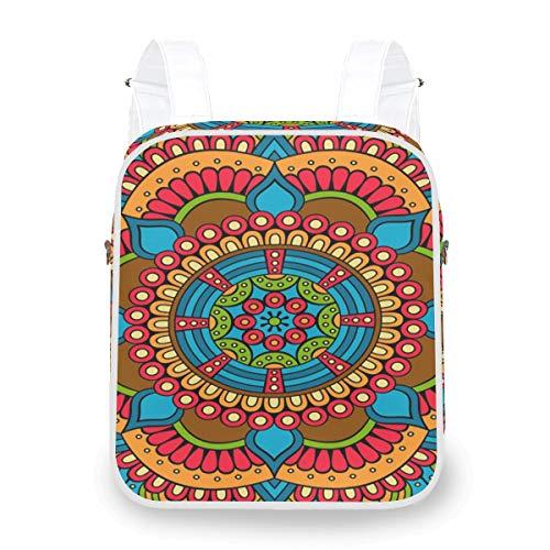 Abstract Flower Colorful Beautiful Mandala Backpack Casual Multi Function Shoulder Bag Daypack Bookbag Doctor
