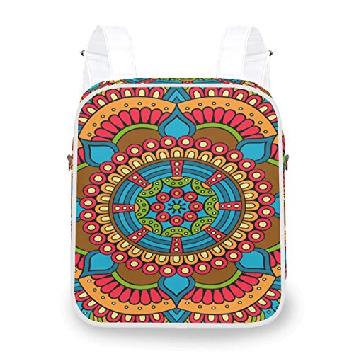 Abstract Flower Colorful Beautiful Mandala Backpack Casual Multi Function Shoulder Bag Daypack Bookbag Doctor